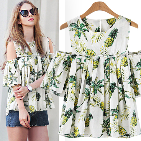 2d661091e5a American Style Off Shoulder Print Women Tops Sexy Pineapple Fashion Loose  Women Blouses Plus Size Xxxxxl Womens Clothing