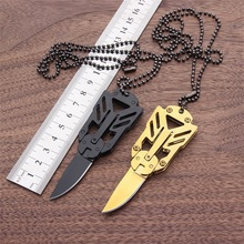 Mini Transformers pocket knife EDC outdoor folding camping hunting knife paratroopers survival knife + rope Self Defense