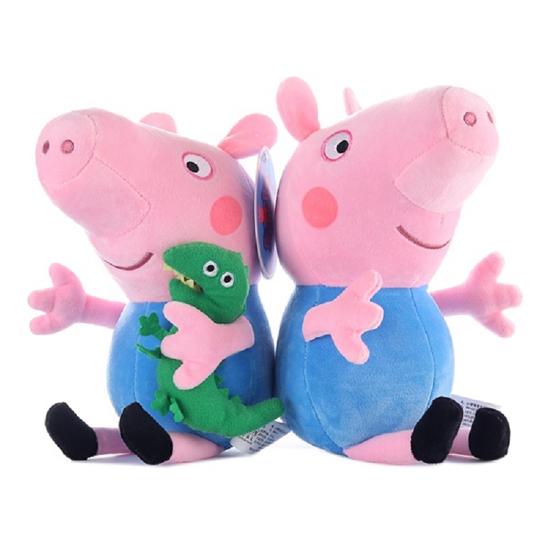 Peppa pig George pepa Pig Family Plush Toys 19cm Stuffed Doll & peppa pig bag Party decorations SchoolbagToys For Children 2