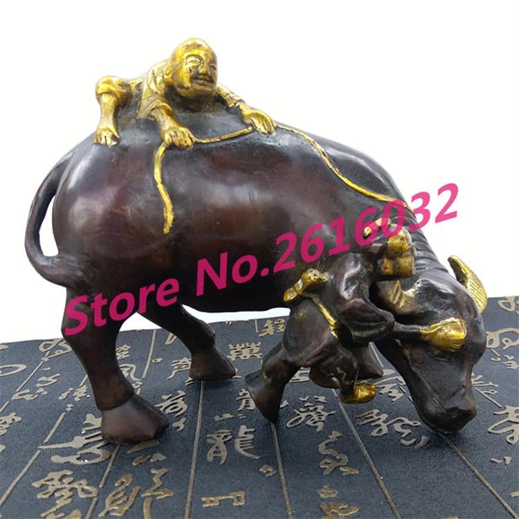 Antique artisanat en cuivre métal vache sculpture figures décorées objets Feng Shui