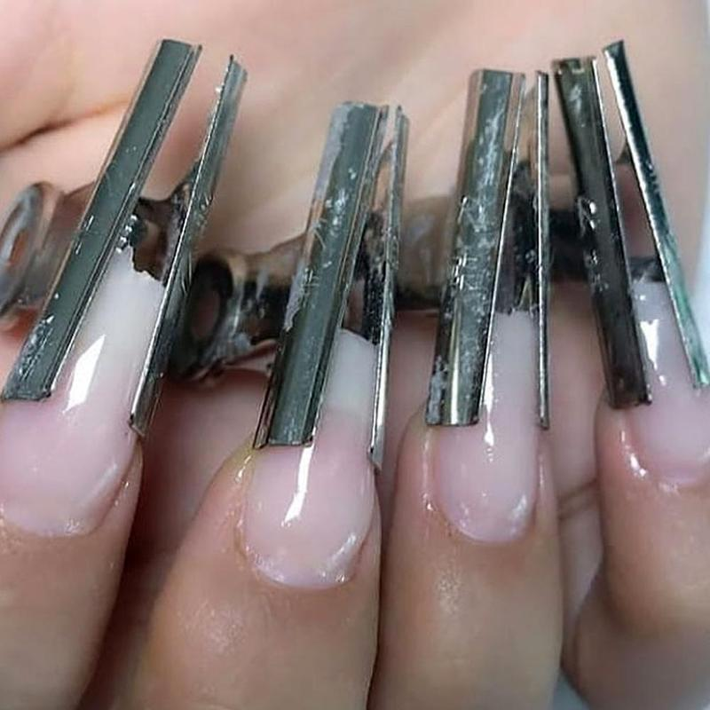 6Pcs/set Nail Pincher Russian Curve Nail Pinching Tool Stainless Steel Acrylic Nail Pincher Clips Manicure Accessories Tools