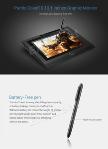 """Image 2 - Parblo Coast10 10.1"""" IPS Graphic Monitor Kit  For Design+ Battery free Pen +Wool Liner Bag+Two Finger Glove+ Stylus Sleeve"""