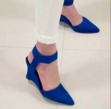 2016new hot Women Wedges Fashion Brand Ankle Pointed Toe Pumps Sexy Sandal High Heels Black Blue Orange White Woman Shoes Summer