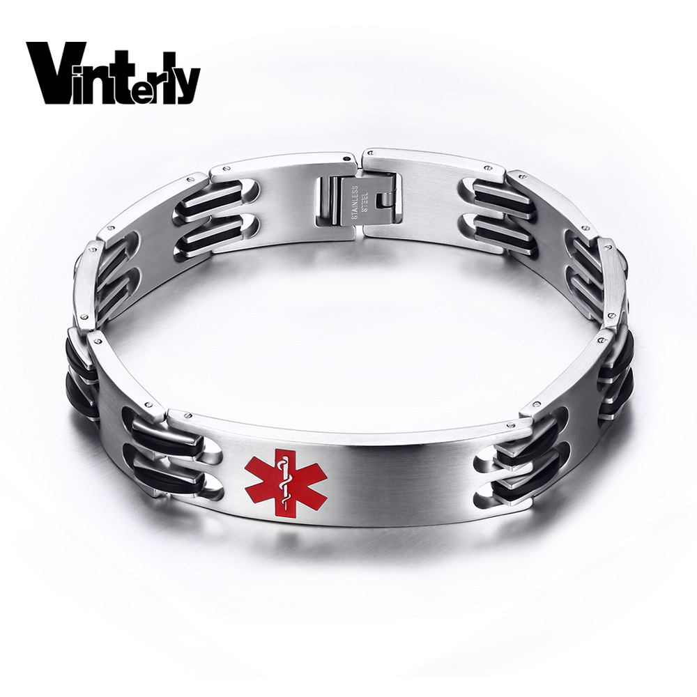 Vinterly Medical Men Alert Id Bracelet Fashion Jewelry High Quality Rock  Punk Black Silicone Stainless Steel