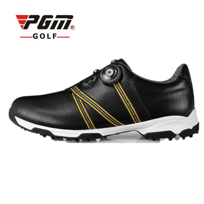 PGM Men Golf Shoes BOA Genuine Leather Sport Shoes Men Sneakers Spike For Medium Distances Waterproof Golf Shoes Plus Size 45 pgm men golf shoes genuine leather breathable ultra light brown waterproof sneakers sport golf shoes mens zapatos charol hombre