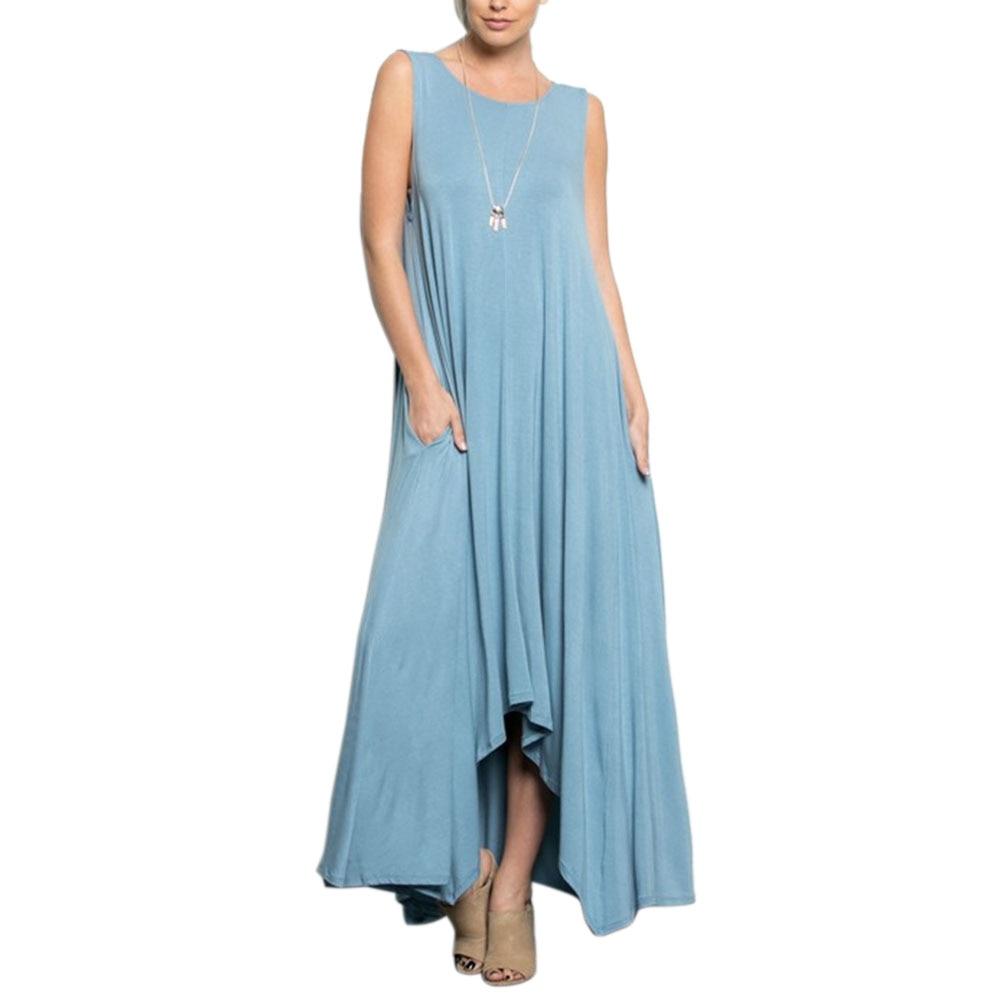 Preself Irregular Maxi Wrap Dress Women Sleeveless Crew Neck Knit ...