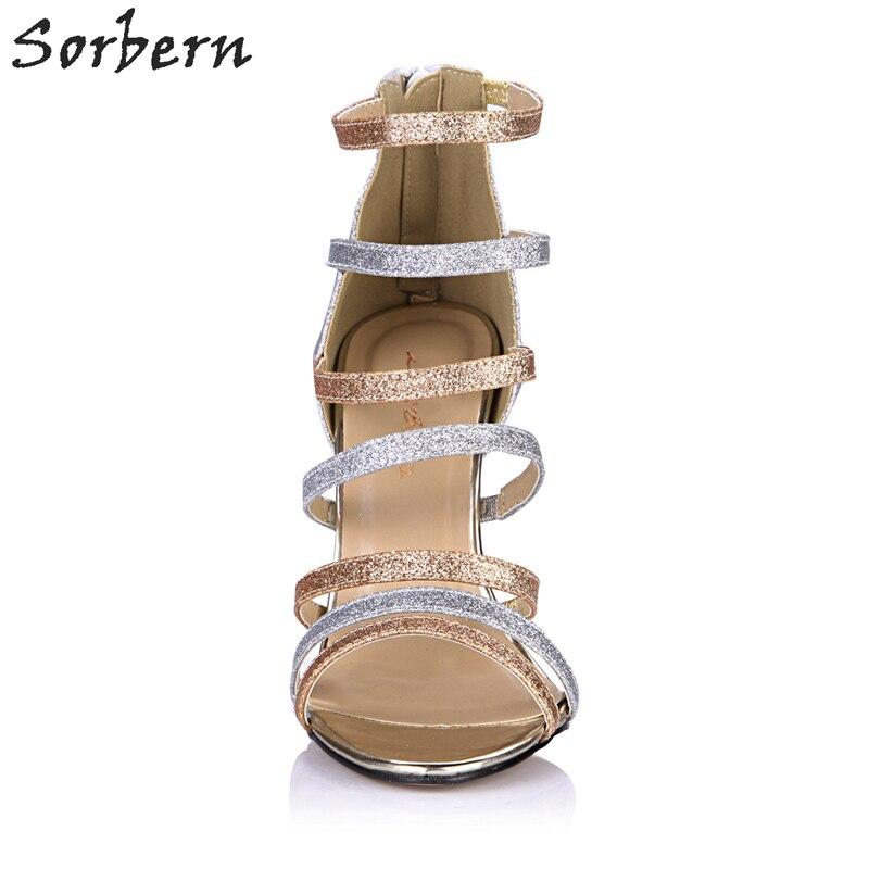 Tacón Custom Sandalias Mujeres Plata Alto Para Nuevo Zapatos 4LRc5Aq3j