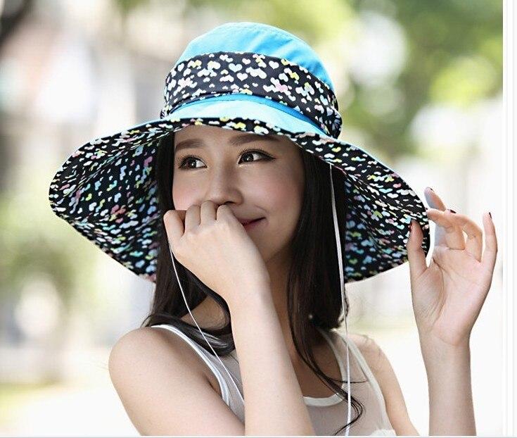 Fashion Korea Style Sun Hats Outdoor Leisure Big Beach Sun Hats Bowknot Can Be Folded Sun Hats