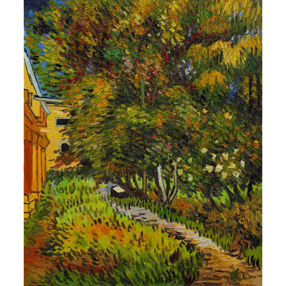 Hand Painted Oil paintings Vincent Van Gogh Canvas art Asylum and Garden High quality home decorHand Painted Oil paintings Vincent Van Gogh Canvas art Asylum and Garden High quality home decor