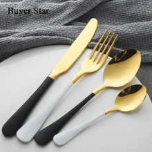 4pcs Stainless Steel Dinnerware Sets Heavy Spoon Fork Knife Dishes Gold Cutlery Kitchen Untensil Flatware 304 Tableware