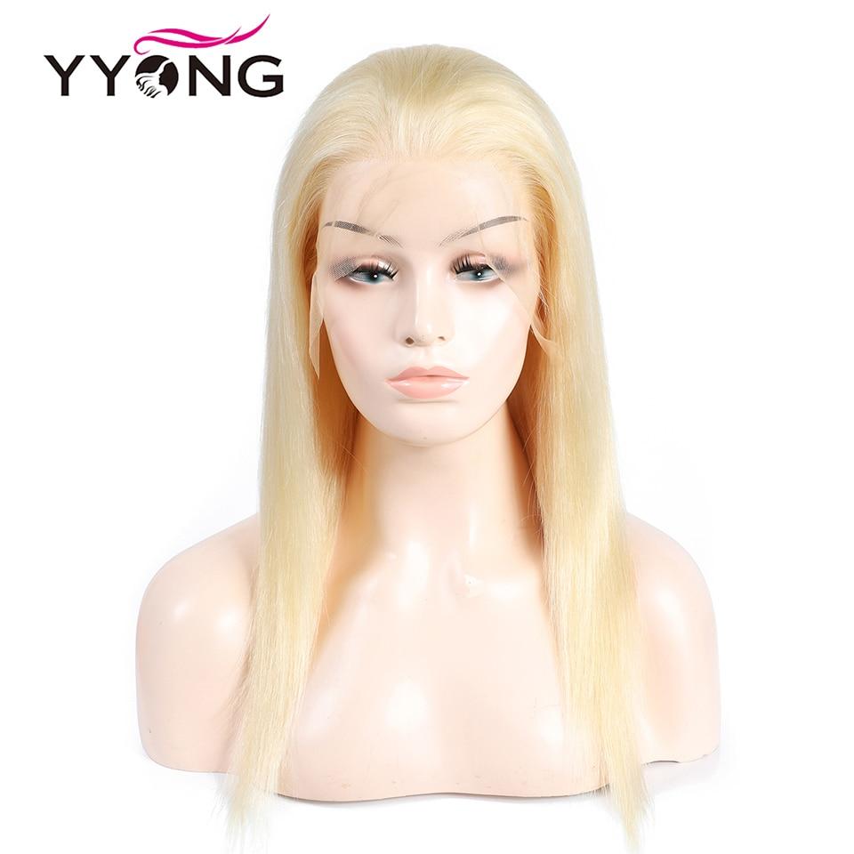 Yyong 613 loira cheia do laço perucas de cabelo humano para preto mulher pré arrancado linha fina com o cabelo do bebê brasileiro em linha reta remy cabelo 120%