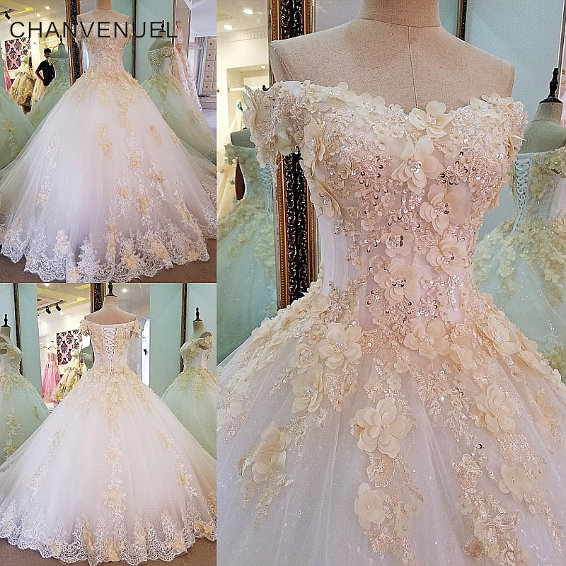 LS36780 Gorgeous ivory bridal gown 3D flowers short sleeves ball gown lace wedding dress vestidos de noivas real photos