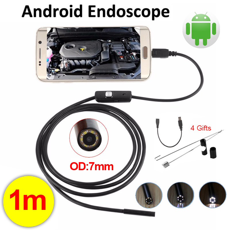 Antscope 7mm Lens Mini USB Android Endoscope Camera 1M Waterproof Snake Tube Micro USB Borescope Camera Endoskop Android Phone antscope 7mm 2in1 usb endoscope android camera 5m 10m snake tube pipe phone pc usb endoskop inspection borescope mini camera