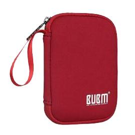 BUBM Portable Hard Disk Cable Bag Handle Storage Bag Power Bank Soft  Handbag For Men Women Red