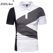ZYFG free men polo contrast color spliceshort-sleeved shirt slim fit simple fashion male tops