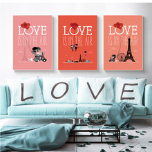 Love is in the Air Modern Jane Jouple Home Warm Cartoon Poster, Picture A4 Art Print Canvas, Married New Bedroom Decoration