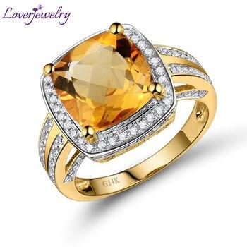 68926b6033a9 LOVERJEWELRY citrino amarillo Vintage anillo cojín