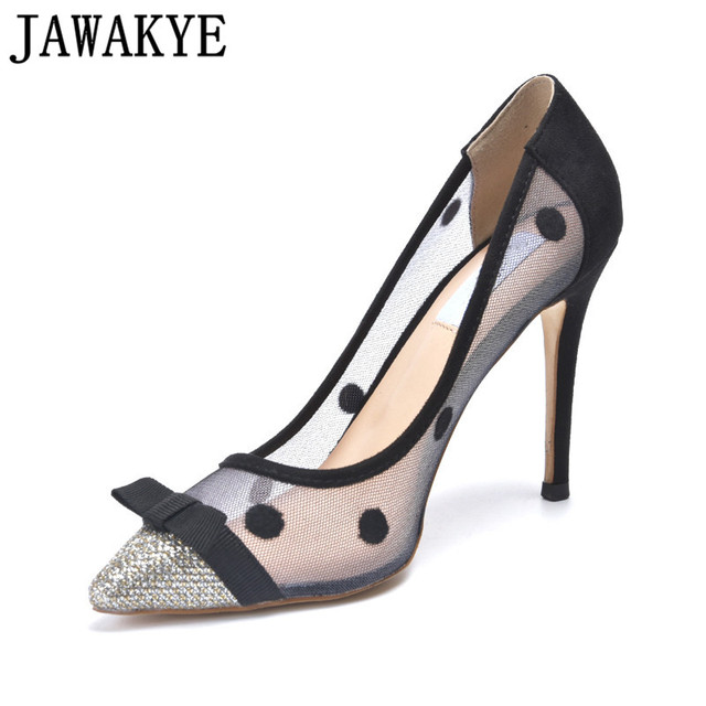 54c2ca427c Air mesh pumps women Pointed Toe spot round dot crystal decor high heels  wedding shoes bowties butterfly knot stilettos