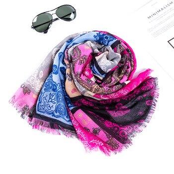 Bufanda de algodón nuevo estampado bufandas de invierno de mujer cálido chal de alta calidad de las señoras cabeza bufanda larga impresión musulmana Hijab bufanda