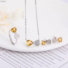 factory wholesale fashionable romantic 925 sterling silver natural yellow crystal earring necklace pendant ring jewelry set