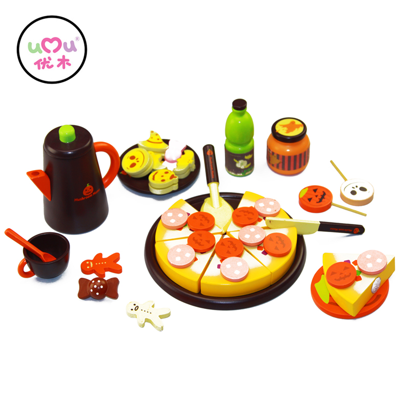 ФОТО [Umu] DIY Model 3+ Children Kids Mystical Halloween Early Educational Classic Toy Pretend Play Kitchen Food wooden Toys