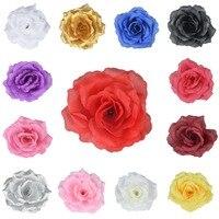 50 Pièces 11 Cm 4 Pouces Soie Artificielle Grande Fleur de Rose Heads Jardin Décor Party & Pince à Cheveux De Mariage faveurs