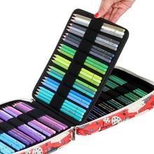 귀여운 카와이 학교 연필 케이스 150/168/216 구멍 멀티 페널 연필 케이스 아이 소년 소녀 다채로운 펜 가방 편지지 상자 파우치