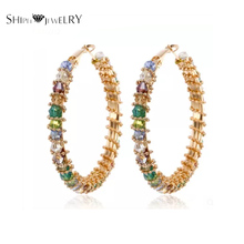 Joyas hechas a mano! SHIPEI 2017 Elegante Multicolor Del Aro Pendientes en Oro Plateado con AAA Diamante De Imitación, Pendiente de La Manera para mujeres