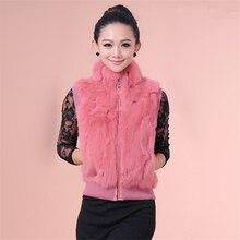 Women's Real Rabbit Fur Vest Fashion Lady Gilet Autumn/Winter Tank Top Madam Waistcoat Ladies Fur Sock Puppet Weskit Wastooat