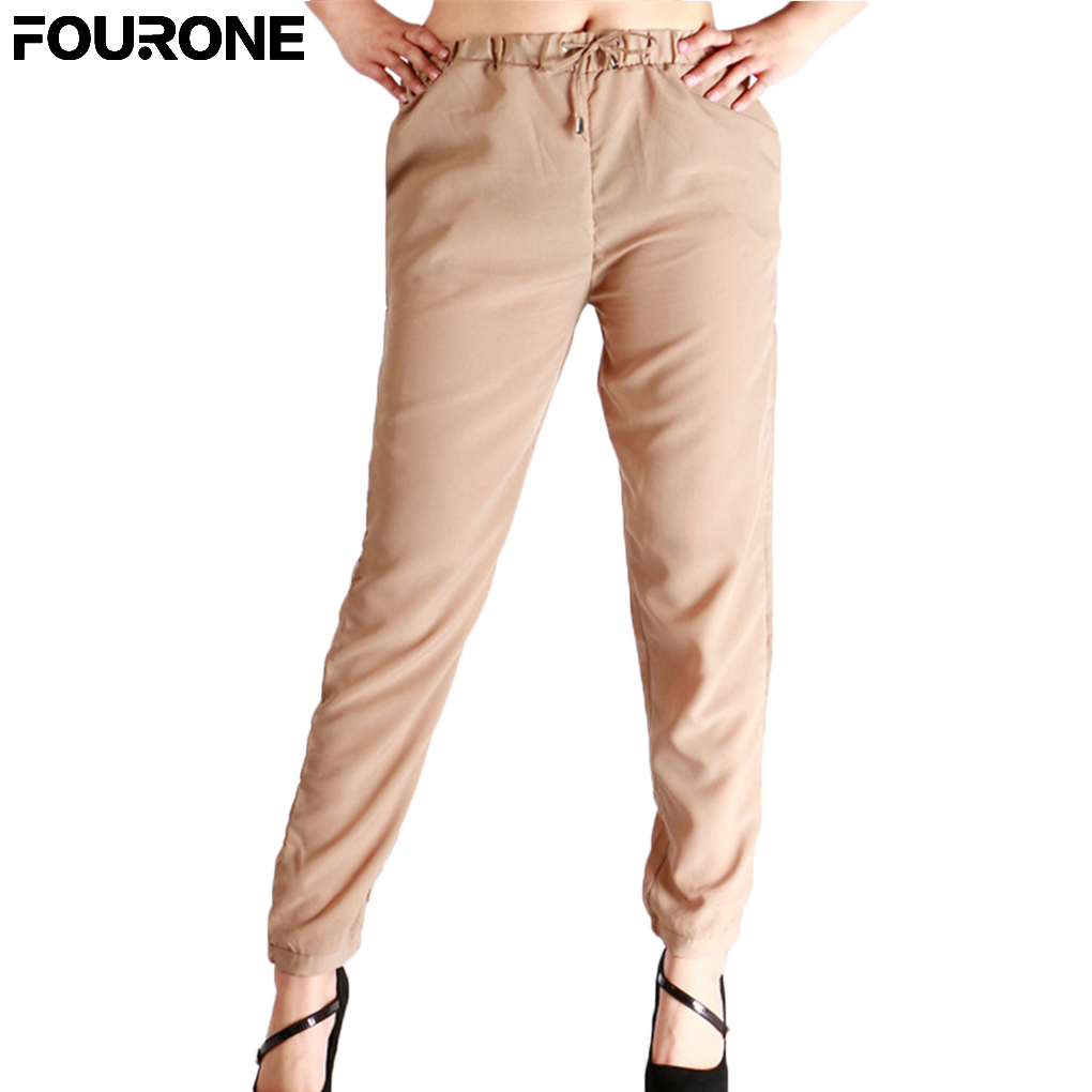 Women Drawstring Chiffon Harem Pants Solid Color Ankle-length Pencil Pants Trousers ...