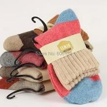 Высокое качество, широкие полосатые хлопковые шерстяные носки для беременных женщин, женские зимние теплые носки, плотные шерстяные носки с кроличьим мехом, 5 пар/лот