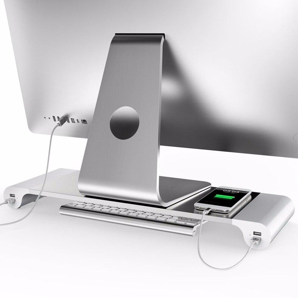 LESHP Alumínio 4 Portas USB Do Computador Portátil Monitor de Suporte Bracket economizar Espaço Eleva Suporte Para Computador PC Para Apple + EUA UE plugue