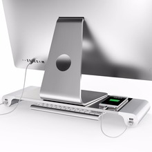 LESHP Aluminum 4 Ports USB Laptop Computer Monitor Holder Bracket Save Space Heighten Stand For PC Computer For Apple+US EU Plug