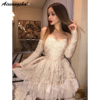 Champagne Elegant Cocktail Dresses 2019 A Line Sweetheart Open Back Long Sleeves Lace Short Prom Homecoming Dresses