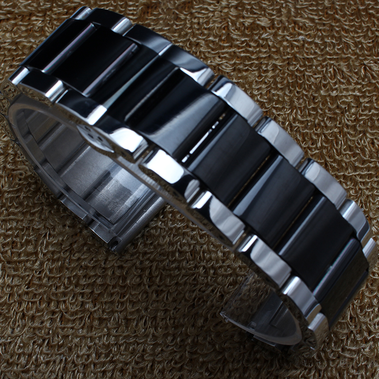 18 mm 20 mm 21 mm 22 mm Plata y negro Banda de acero inoxidable 304L - Accesorios para relojes