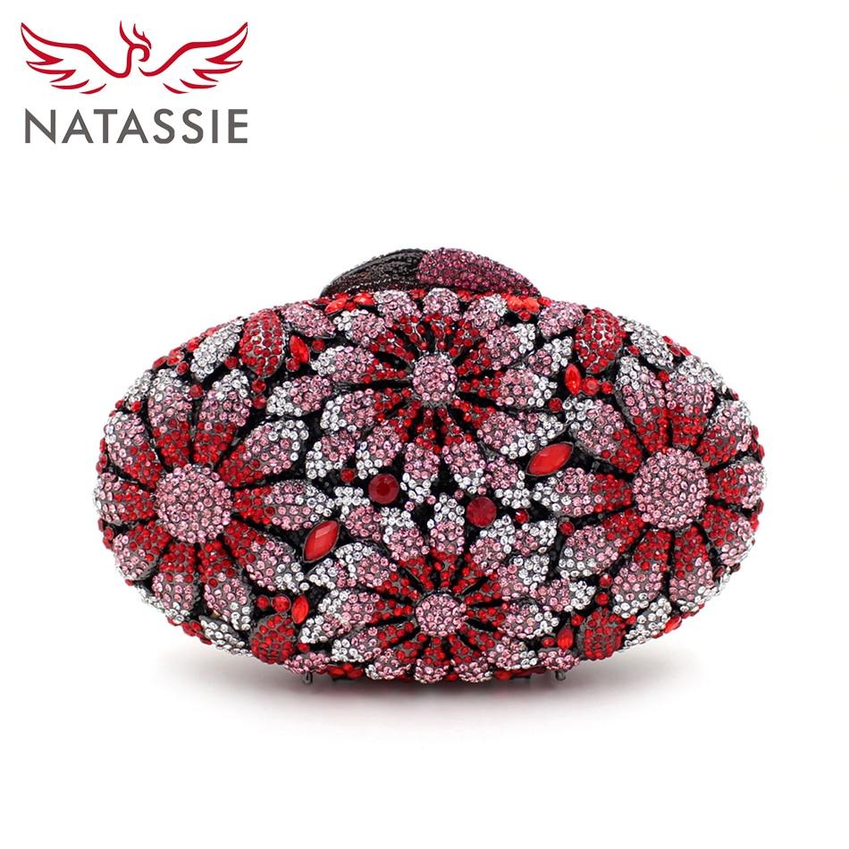NATASSIE Women Luxury Crystal Clutch Bag Pink Flower Clutches Ladies Evening Bags Wedding Purse Designer font