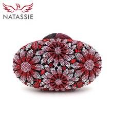 Natassie crystal mujeres de lujo bolsa de embrague rosa flor embragues noche de las señoras bolsos bolsos del diseñador del monedero de la boda