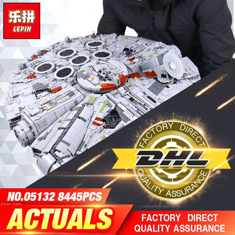 DHL LEPIN 05132 05007 05028 Star Series War Building Blocks Force Awakens 75105 Millennium Set Falcon Model Toys Kid Gift 75192 2018 dhl lepin star series war 05007 05033 05132 building blocks bricks model toys compatible 75105 10179 75192 gifts