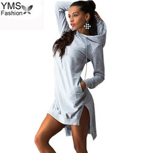 YIMOSI mujeres bolsillos pulóver Svitshot 2019 sudaderas con capucha Casual mujer Sudadera con capucha mujer vestido ajustado con capucha