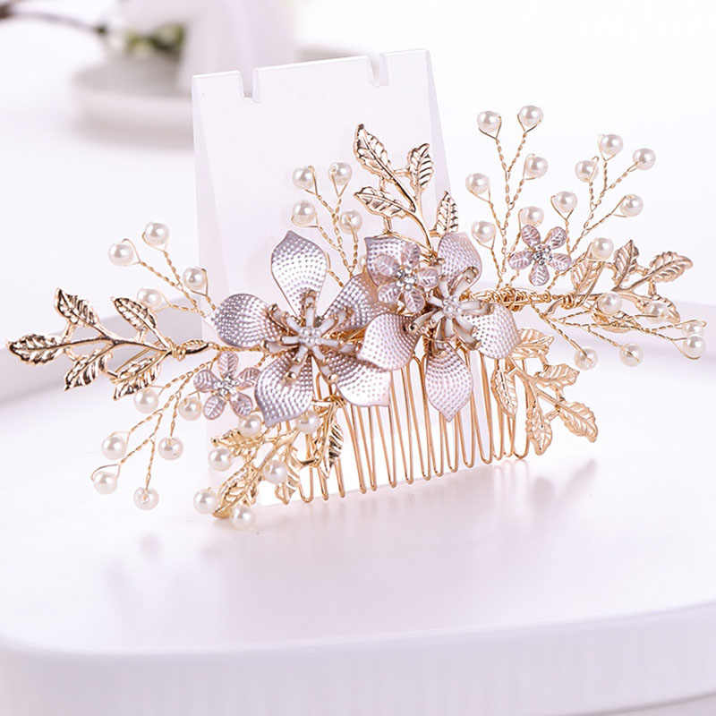 Women Vintage Style Fashion Hair Comb Bride Wedding Rhinestone Hair Jewelry Ladies Delicate Simulation Pearl Hair Accessories