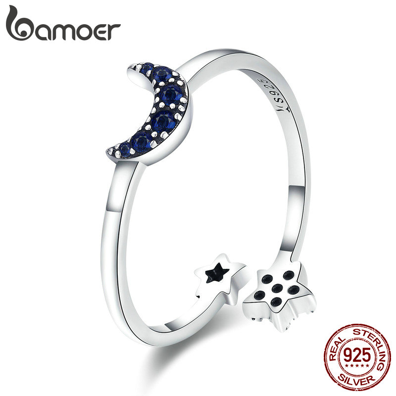 BAMOER Real 925 Sterling Silver Sparkling Blue Moon Star Clear CZ Finger Rings for Women