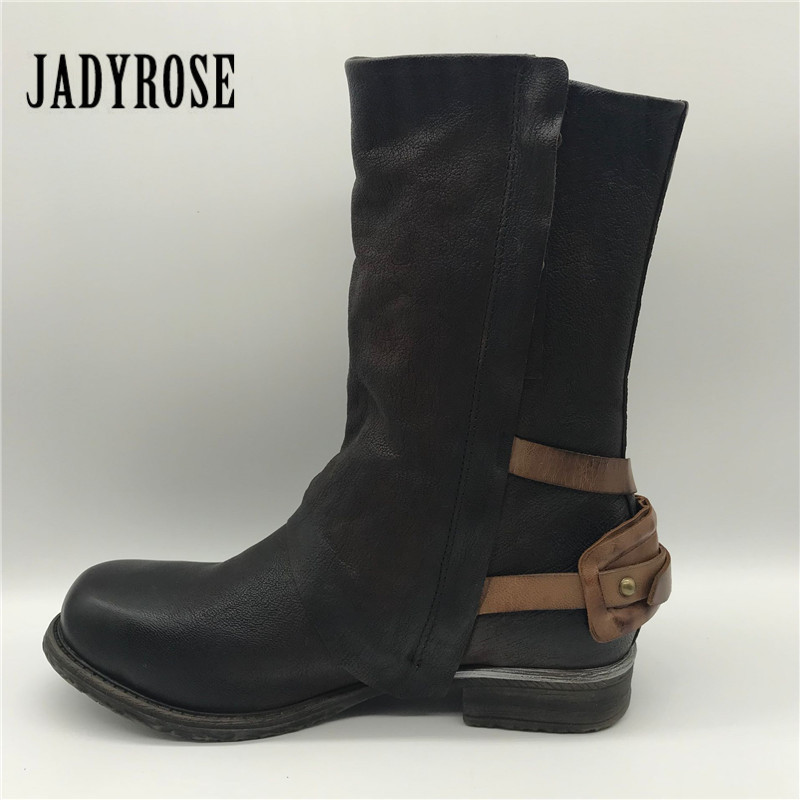 Jady Rose Women Ankle Boots Genuine Leather Double Zipper Flat Booties Straps Autumn Botas Militares Platform Rubber Martin Boot new fashion black purple women genuine leather ankle boots chain decor punk style motorcycle booties flat botas militares