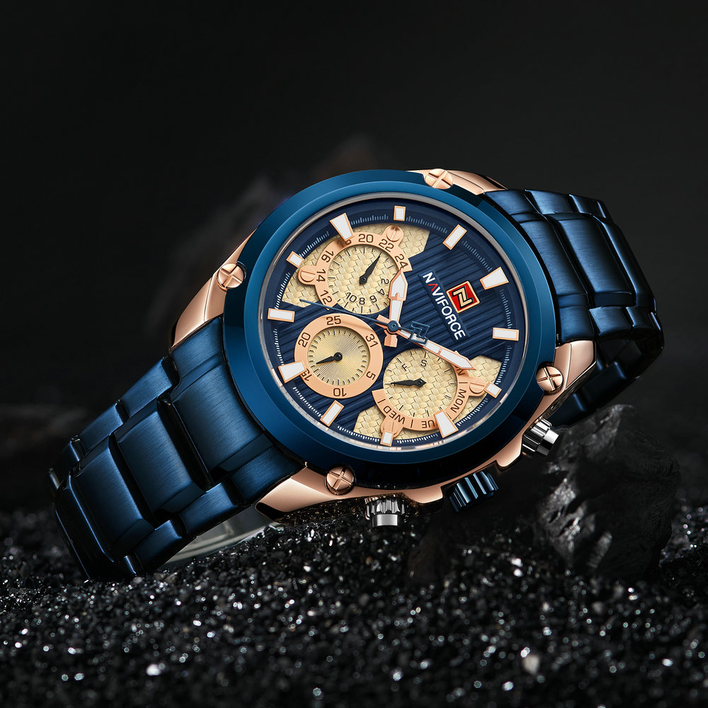 <font><b>NAVIFORCE</b></font> New Fashion Men Watches Luxury Brand Quartz Blue Stainless Steel Strap Chronograph Clock Waterproof Casual Wrist Watch image
