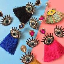 Bestessy Eyes Crystal Long Tassel Earrings for Women Big Fashion Dangle Drop Jewelry Handmade Fringed Statement Earring
