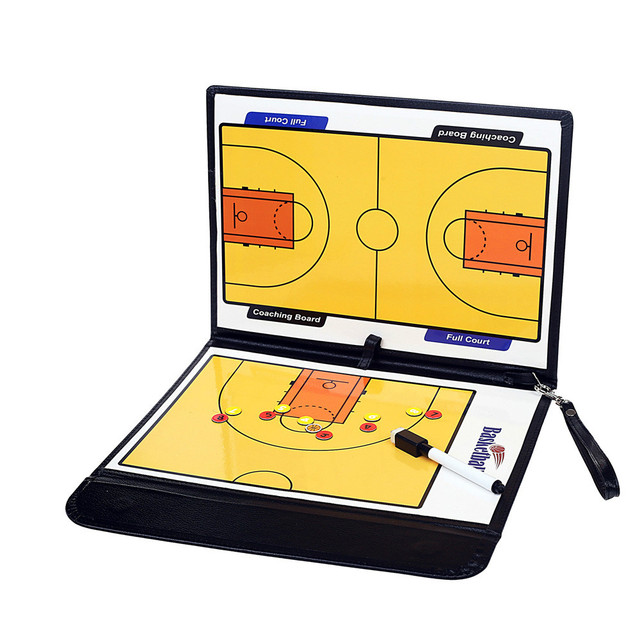High quality magnetic leather basketball tactic board Tri-fold coach teaching board with magnetic stylus