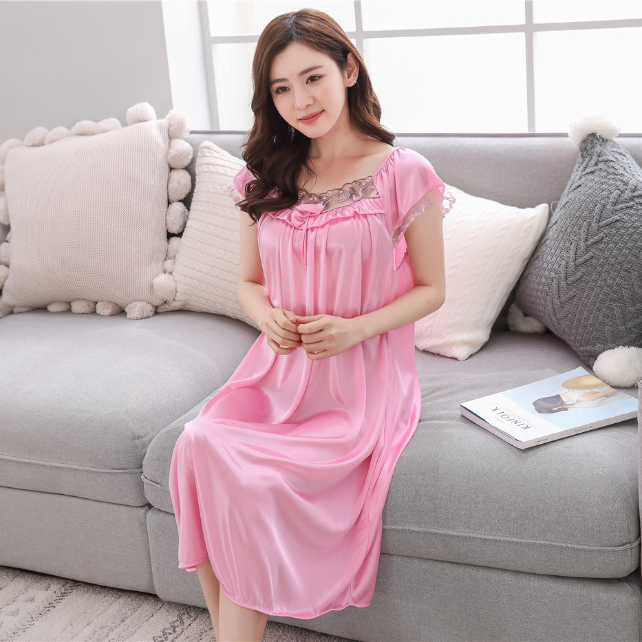 b8b301e853 2018 summer Solid color sexy women ice silk nightgown lady short ...