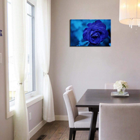 Blue Rose Canvas Wall Art Painting Pictures Print Modern Home Decoration Lotus Flower Picture for Bedroom Bathroom Wall Decor