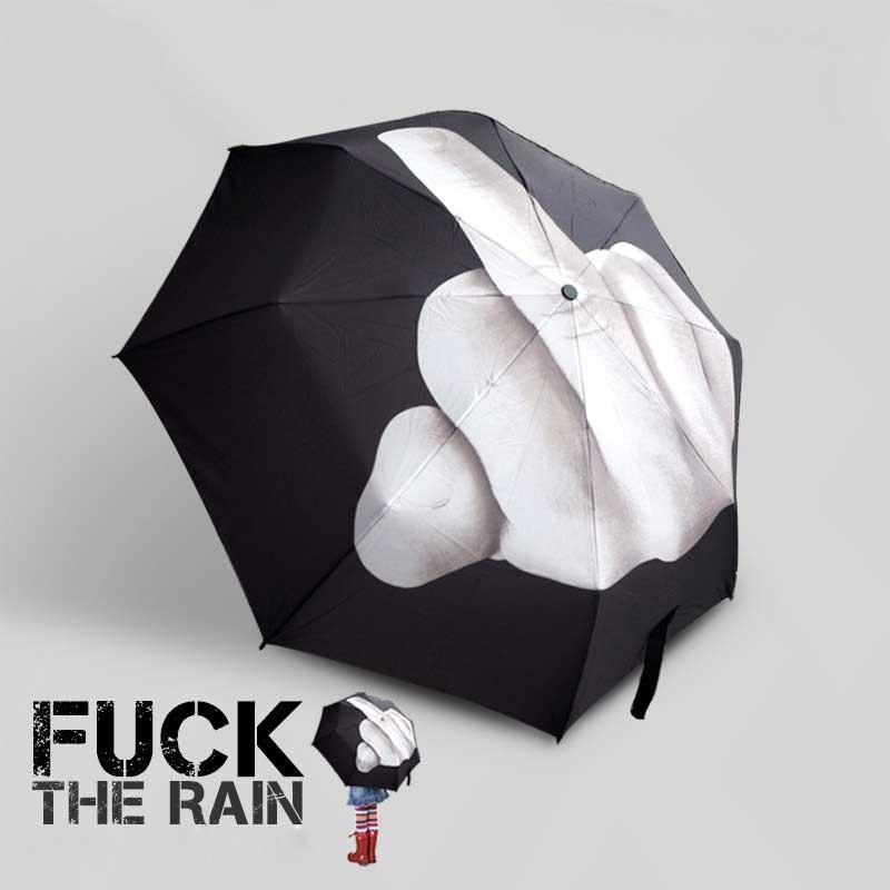 Free Shipping Creative Umbrella Middle <font><b>Finger</b></font> Pongee Sunny Rainy Umbrella Umbrella Up Yours