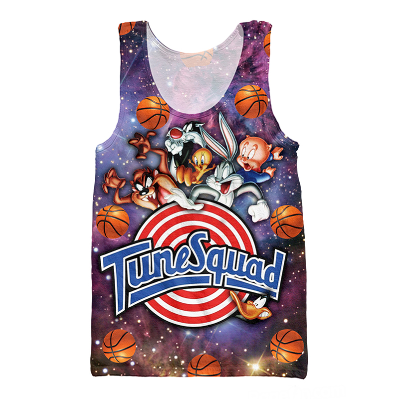Harajuku Sexy Vest Ball Cosmos Space Squad Bug Bunny Bird Print 3D Men   Tank     Top   Sleeveless Shirt Tanktop
