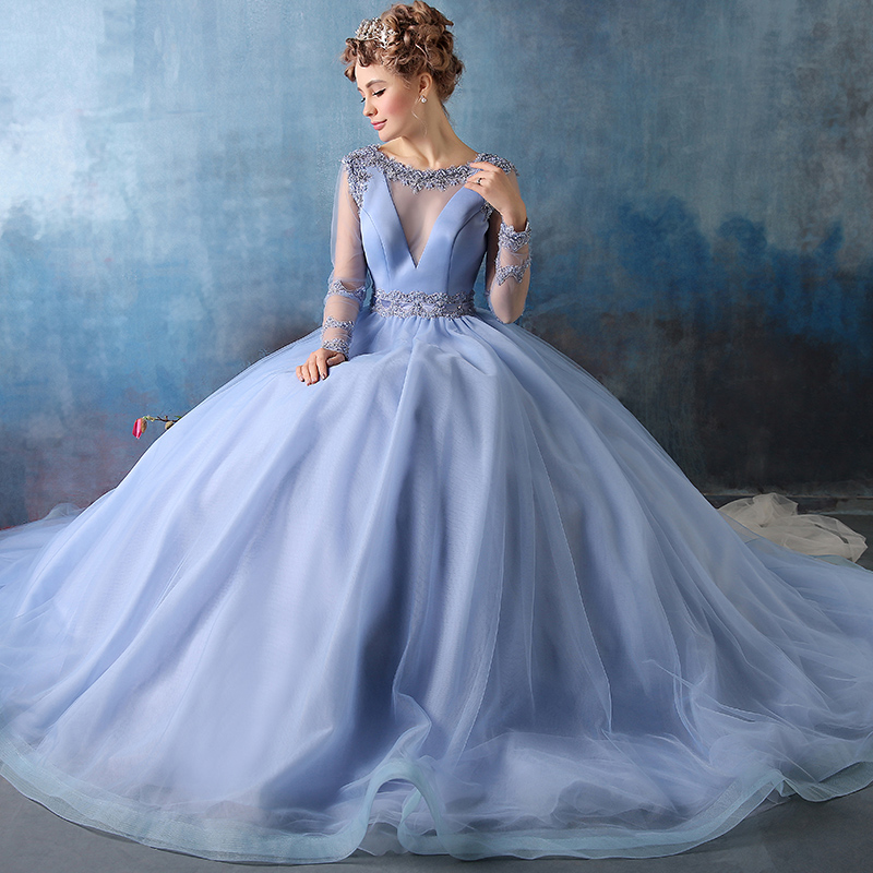 Long Sleeve Ball Gown Prom Dress